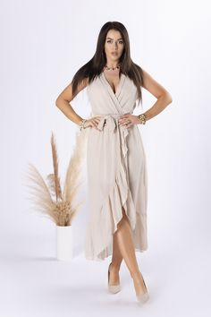 VEĽKOSTNÁ TABUĽKAVeľkosťObvod hrudníkaObvod pásuObvod bokovCelková dĺžkaUNI90,0060,00114,00133,00 Wrap Dress, Beige, Dresses, Products, Fashion, Scale Model, Vestidos, Moda, Fashion Styles