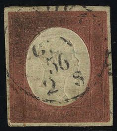 Sardinia 1854, 40 Cent. rosso mattone, impercettibile piega e legg. ossidato, firm., cert. Cardillo (S. 9 / 5500,-)