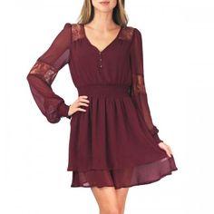Fleur Lace Dress Burgundy