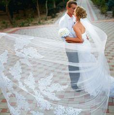 Tulle Long Cathedral Lace Edge Bridal Veil #weddingphotographyshotlist