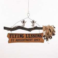 Glitzhome Handcrafted Halloween Wooden Flying Lessons Witch Broom Sign W/ Ghosts