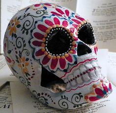 Day Of The Dead Sugar Skull art by Megan by mycreativebliss Sugar Skull Painting, Sugar Skull Art, Ceramic Painting, Sugar Scull, All Souls Day, Day Of The Dead Skull, Candy Skulls, Skulls And Roses, Mexican Folk Art