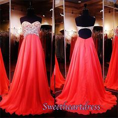 Beaded red chiffon prom dress for teens, ball gown 2016, prom dresses long #coniefox #2016prom