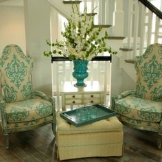 Sitting area with fresh flowers (Lavender Hill) Homearama 2012