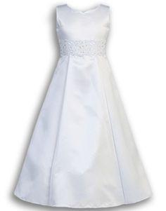 SP104 White Satin A-Line Communion Dress with Lace Waist & Tie Back Sash - Front View