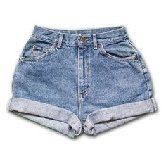 Vintage 90s Lee light/medium Blue Wash High Waisted Rise Cut Offs Cuff ❤ liked on Polyvore featuring shorts, bottoms, denim, jeans, high-waisted denim shorts, denim cut-off shorts, high waisted denim shorts, high-rise shorts and vintage shorts