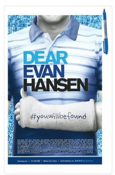 Official window card poster from Dear Evan Hansen the Broadway Musical includes as show logo sharpie (perfect for autographs or signing casts). The poster measures 14 x 22 inches. Printed on glossy ca