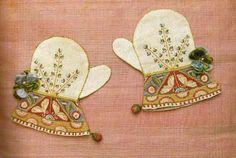 Antique Christening mittens, 1910.