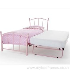 Single bed frame with extra guest bed stored underneath. Suitable for children and adults, finished in a pink gloss. Guest bed level when raised.