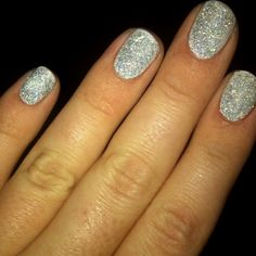 Do-It-Yourself glitter nails!  Paint with white nail polish & glitter immediately after. When dry, cover with a clear coat & let sit!  Super cute! :)