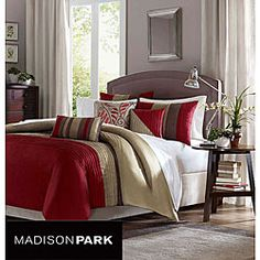 @Overstock - Brighten and beautify your bedroom with this contemporary duvet comforter set. With everything you need for a bedding makeover, this six-piece set offers a modern striped print in red, khaki, and taupe that will easily blend in with your current decor.http://www.overstock.com/Bedding-Bath/Madison-Park-Salem-6-piece-Duvet-Cover-Set/5494298/product.html?CID=214117 $84.99