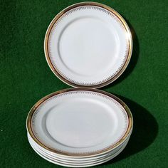 FRENCH ANTIQUE ST AMAND PORCELAIN GOLD TRIM DESSERT PLATE SET 6 PCS EMPIRE