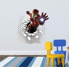 Iron Man wall stickers (decal) 58 x 55 cm. Wall Stickers, Wall Decals, Vinyl Art, Iron Man, Spiderman, Kids Room, Handmade Gifts, Action, Hero