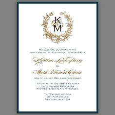 monogram with wreath, calligraphy & classic fonts, metallic backing and envelopes.