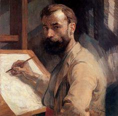deadsunflower:  Frantisek Kupka, Self-portrait (1905). Oil on canvas, 65 x 65cm. Národní Galerie, Prague.