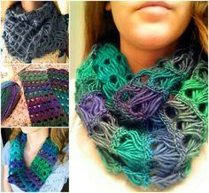 Free pattern for beautiful Crochet Infinity Lace Scarf --> http://wonderfuldiy.com/wonderful-diy-crochet-broomstick-lace-scarf/ #diy #crochet #freepattern
