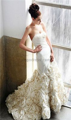 Dropped waist sweep / brush train sleeveless satin elegant bridal gown if only but this looks soo expensive Cute Wedding Dress, Fall Wedding Dresses, Colored Wedding Dresses, Bridal Dresses, Wedding Gowns, Bridesmaid Dresses, Elegant Wedding, Dresses Dresses, Wedding Pics