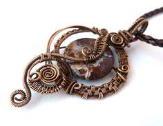 Poppy Jasper Wire Wrapped pendant necklace / woven wire jewelry by PillarOfSaltStudio