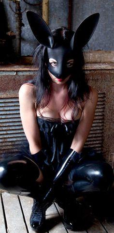 Rabbit mask in black leather. $79.00, via Etsy.