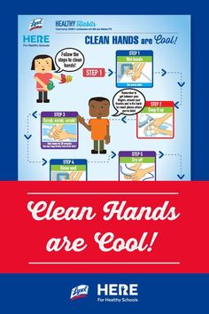 Clean Hands are Cool!—This colorful poster shows kids the five steps of effective handwashing: wet hands, soap it up, scrub, rinse, and dry. Print one for your home or classroom! #printable #activities #activitiesforkids #education #teaching #cleaning #cleaningsupplies Healthy Schools, Healthy Kids, Middle School Teachers, Elementary Teacher, Letter To Parents, Health Education, Anchor Charts, Teaching Kids, Are You The One