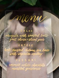 Clear acrylic wedding menu idea | Would look great with our custom monograms peeping through | Wedding Inspiration & Ideas | Tablescapes | China | Registry | Dinnerware | Monogrammed