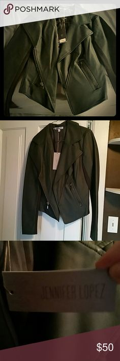 Jennifer Lopez jacket size xs Dark Grey leather Jennifer Lopez jacket never worn tags still attached Jennifer Lopez Jackets & Coats Utility Jackets