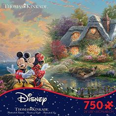 a11249781 Thomas Kinkade Disney Dreams - Mickey & Minnie 750 Piece Jigsaw Puzzle 24 x  Mickey and Minnie Mouse in a fun new 750 piece puzzle from Ceaco.