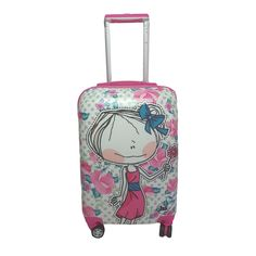 """Hablando Sola Flower 22-inch Hardside Carry-on Spinner Upright Suitcase (HS 22"""" Carry on, Purple)"""