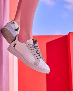 Fly fish embroidered sneakers - White | Shoes | Ted Baker