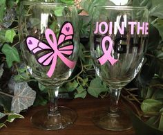 Breast Cancer Awareness Wine Glasses on Etsy, $14.00