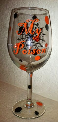 My poison halloween wine glass Wine Glass Sayings, Wine Glass Crafts, Wine Craft, Wine Bottle Crafts, Wine Bottles, Diy Wine Glasses, Decorated Wine Glasses, Hand Painted Wine Glasses, Halloween Wine Glasses