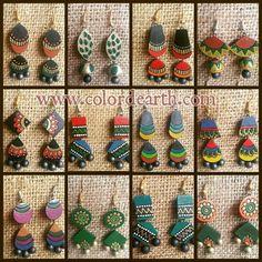 Jewellery making Terracotta Jewellery Making, Terracotta Jewellery Designs, Terracotta Earrings, Fabric Earrings, Fabric Jewelry, Diy Earrings, Polymer Clay Earrings, Quilling Jewelry, Bead Jewellery