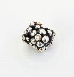 "Genuine Pandora two tone Charm ""Diamond Flowers"" - 790317D | eBay"