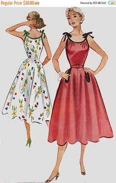 VENTE robe de soleil des années 1950 avec liée épaules et jupe ample McCalls 9378 ROCKABILLY des années 50, patron de couture Vintage taille 12 non circoncis