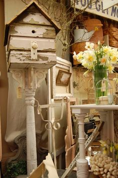 Idea: Using found items, old table legs etc to create a bird house for the garden