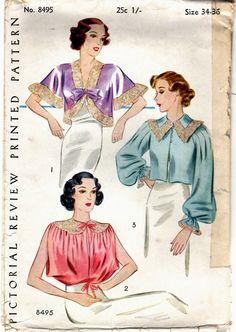 Pictorial Review 8495 | 1930s Bed Jackets