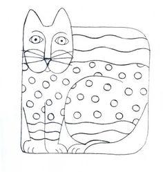 *Claire ***Arte Mania e Cia*: RISCOS PARA BOLSAS, CAMISETAS, ALMOFADAS Laurel Burch, Cat Template, Templates, Shrink Art, Creative Workshop, Mosaic Crafts, Cat Crafts, Cat Drawing, Art Plastique