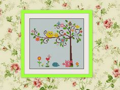 Owl nursery art,decor baby girl room,kids room,children room Stitch Pattern,BOGO, PDF counted cross stitch pattern, D010