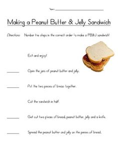 peanut butter and jelly Sequencing Activity Worksheets