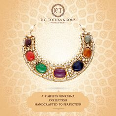 Opulent designs by P.C. Totuka & Sons carved in precious Navratna stones & minakari that replicate the mystique of yesteryears. Worthy of becoming cherished heirlooms. #BridalCollection #Brides #Jewelry #Navratna #Jaipur #WeddingCollection #Contemprory #Authentic #Gold  #Pearls 