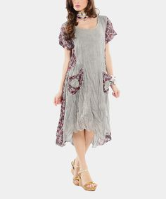 Look what I found on #zulily! Gray & Red Floral Hi-Low Dress by EVVEL  #zulilyfinds