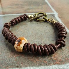 Braided Brown Leather Bracelet , Handmade Jewelry for Man , Prayer