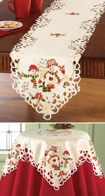 Snowman Couple Embroidered Table Linens