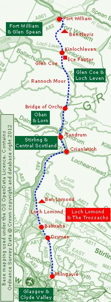 Scotland: Long Distance Walk - Clickable Map of the West Highland Way