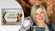 FAUX METAL CARD On today's video tutorial I'll share how to make this super cool faux metal background featuring the Stampin Up Urban Underground Suite in the Card Making Tutorials, Making Ideas, Metal Background, Fathers Day Crafts, Stampin Up Cards, Men's Cards, Greeting Cards, Birthday Cards For Men, Masculine Cards