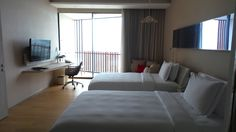 Twin Room at the Hilton Pattaya Hotel in Thailand Twin Room, Pattaya, Family Travel, Twins, Thailand, Bed, Furniture, Home Decor, Family Trips