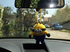 Minyon az autóba (Minion to the car) #minions #crochet #car #handmade