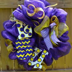 LSU Hand painted wooden letters wreath on Etsy, $75.00