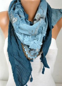 Teal Ombre Scarf Oversize Scarf Shawl Scarf Cowl Scarf by fatwoman