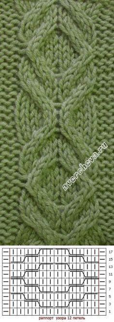 узор 4   каталог вязаных спицами узоров Cable Knitting Patterns, Knitting Stiches, Easy Knitting, Knitting Charts, Knitting Designs, Crochet Stitches, Knit Crochet, Ribs, Le Point
